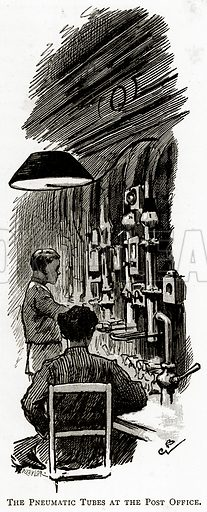 The Pneumatic Tubes at the Post Office. Illustration from London Pictures by Richard Lovett (Religious Tract Society, 1890).