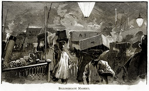 Billingsgate Market. Illustration from London Pictures by Richard Lovett (Religious Tract Society, 1890).