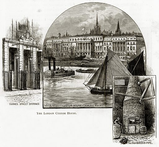 The London Custom House. Thames Street entrance. The Old Queen's Pipe. Illustration from London Pictures by Richard Lovett (Religious Tract Society, 1890).