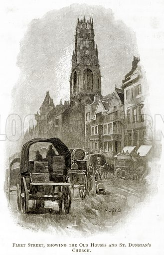 Fleet Street, showing the Old Houses and St. Dunstan
