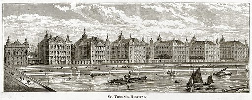 St Thomas's Hospital. Illustration from London Pictures by Richard Lovett (Religious Tract Society, 1890).