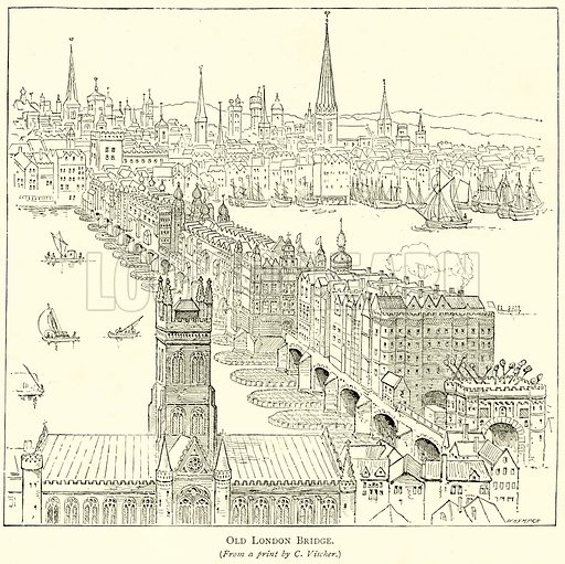 Old London Bridge. Illustration from London Pictures by Richard Lovett (Religious Tract Society, 1890).