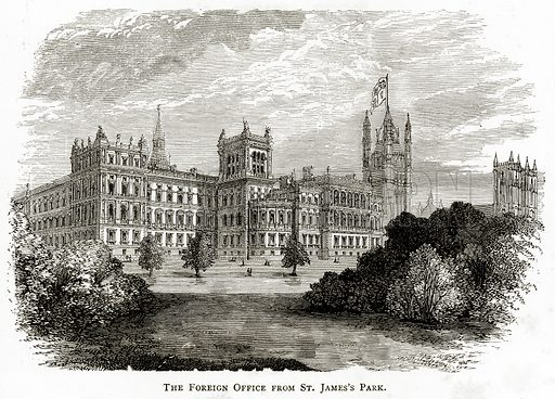 The Foreign Office from St James's Park. Illustration from London Pictures by Richard Lovett (Religious Tract Society, 1890).