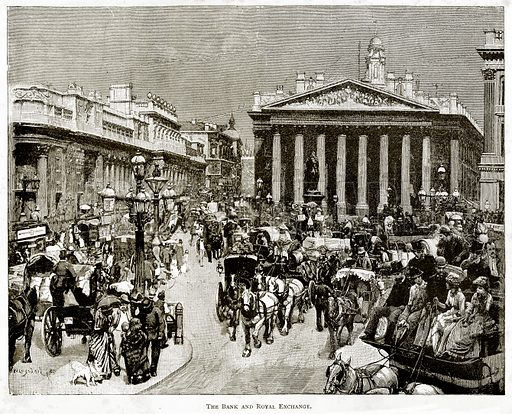 The Bank and Royal Exchange. Illustration from London Pictures by Richard Lovett (Religious Tract Society, 1890).