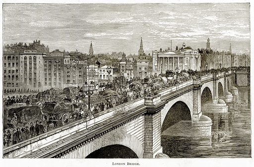 London Bridge. Illustration from London Pictures by Richard Lovett (Religious Tract Society, 1890).