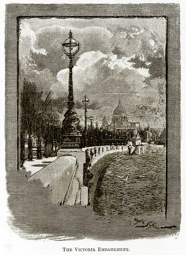 The Victoria Embankment. Illustration from London Pictures by Richard Lovett (Religious Tract Society, 1890).