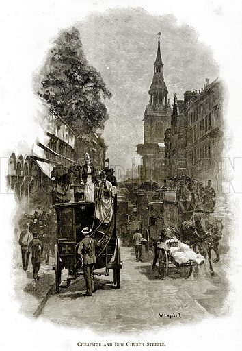 Cheapside and Bow Church Steeple. Illustration from London Pictures by Richard Lovett (Religious Tract Society, 1890).