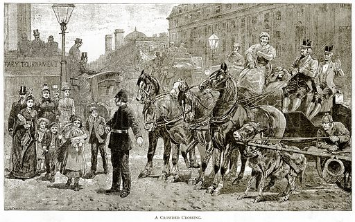 A Crowded Crossing. Illustration from London Pictures by Richard Lovett (Religious Tract Society, 1890).
