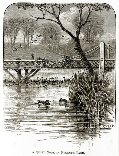 A Quiet Nook in Regent's Park. Illustration from London Pictures by Richard Lovett (Religious Tract Society, 1890).