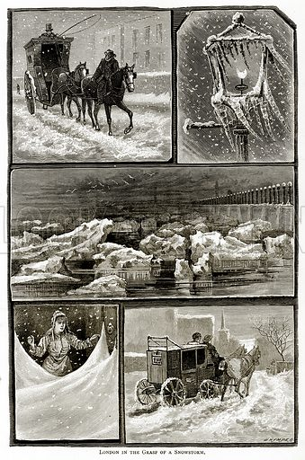 London in the Grasp of a Snowstorm. Illustration from London Pictures by Richard Lovett (Religious Tract Society, 1890).
