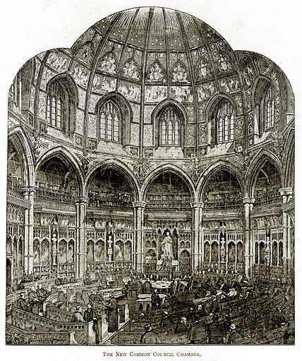 The New Common Council Chamber. Illustration from London Pictures by Richard Lovett (Religious Tract Society, 1890).