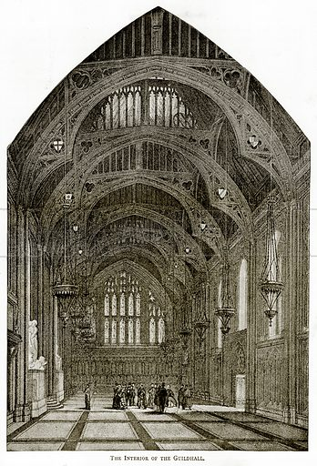 The interior of the Guildhall. Illustration from London Pictures by Richard Lovett (Religious Tract Society, 1890).
