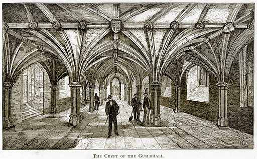 The crypt of the Guildhall. Illustration from London Pictures by Richard Lovett (Religious Tract Society, 1890).