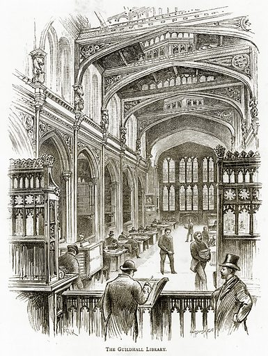 The Guildhall Library. Illustration from London Pictures by Richard Lovett (Religious Tract Society, 1890).