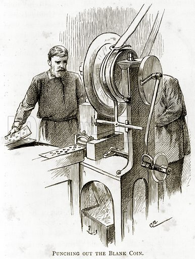 Punching out the Blank Coin. Illustration from London Pictures by Richard Lovett (Religious Tract Society, 1890).