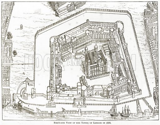 Bird's-Eye view of the Tower of London in 1688. Illustration from London Pictures by Richard Lovett (Religious Tract Society, 1890).