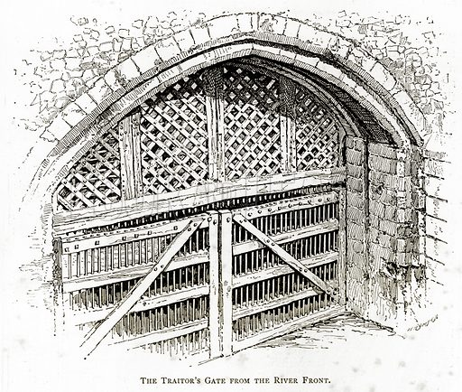 The Traitor's Gate from the River Front. Illustration from London Pictures by Richard Lovett (Religious Tract Society, 1890).