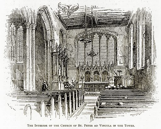 The interior of the Church of St Peter ad Vincula in the Tower. Illustration from London Pictures by Richard Lovett (Religious Tract Society, 1890).