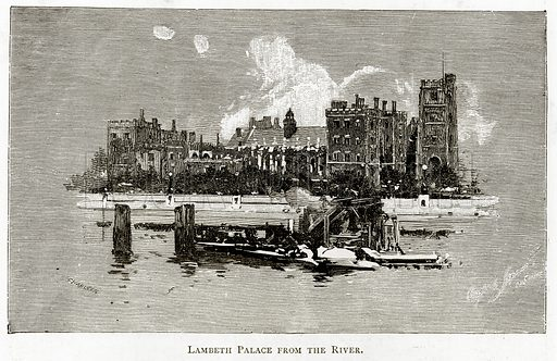 Lambeth Palace from the River. Illustration from London Pictures by Richard Lovett (Religious Tract Society, 1890).