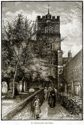 St Bartholomew the Great. Illustration from London Pictures by Richard Lovett (Religious Tract Society, 1890).
