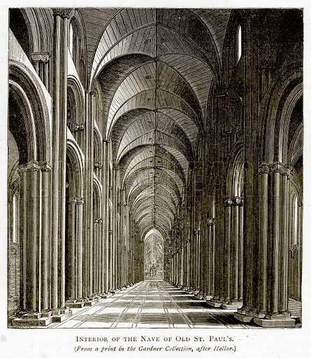 Interior of the Nave of Old St Paul's. Illustration from London Pictures by Richard Lovett (Religious Tract Society, 1890).