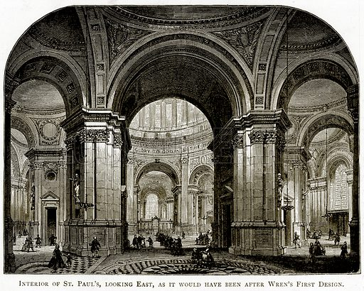 Interior of St Paul's, looking East, as it would have been after Wren's First Design. Illustration from London Pictures by Richard Lovett (Religious Tract Society, 1890).
