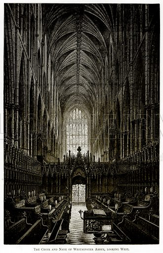 The Choir and Nave of Westminster Abbey, looking West. Illustration from London Pictures by Richard Lovett (Religious Tract Society, 1890).
