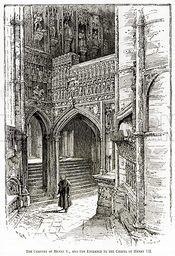 The Chantry of Henry V., and the entrance to the Chapel of Henry VII. Illustration from London Pictures by Richard Lovett (Religious Tract Society, 1890).