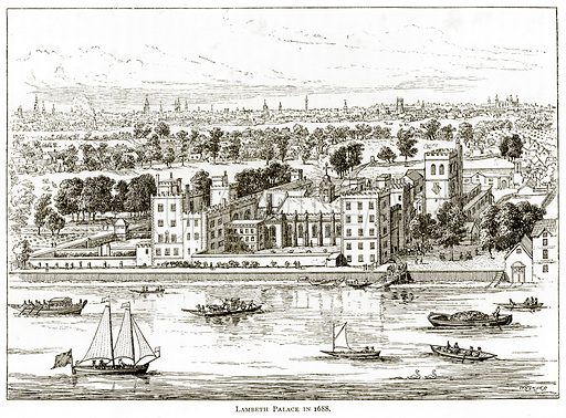 Lambeth Palace in 1688. Illustration from London Pictures by Richard Lovett (Religious Tract Society, 1890).