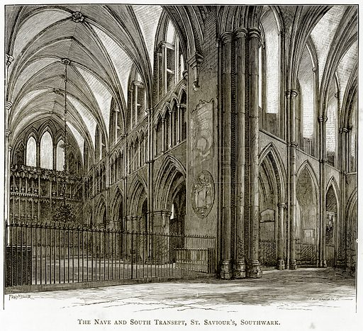 The Nave and South Transept, St Saviour's, Southwark. Illustration from London Pictures by Richard Lovett (Religious Tract Society, 1890).