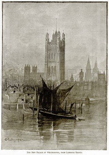 The New Palace of Westminster, from Lambeth Bridge. Illustration from London Pictures by Richard Lovett (Religious Tract Society, 1890).