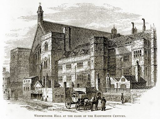 Westminster Hall at the close of the eighteenth century. Illustration from London Pictures by Richard Lovett (Religious Tract Society, 1890).