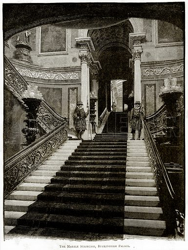The Marble Staircase, Buckingham Palace. Illustration from London Pictures by Richard Lovett (Religious Tract Society, 1890).