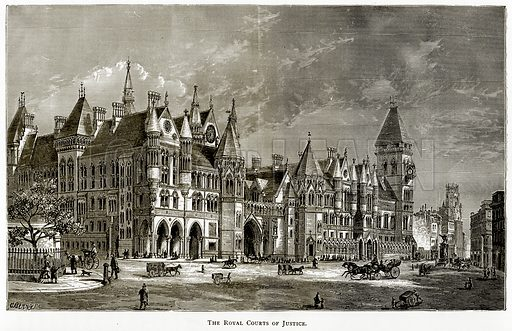The Royal Courts of Justice. Illustration from London Pictures by Richard Lovett (Religious Tract Society, 1890).