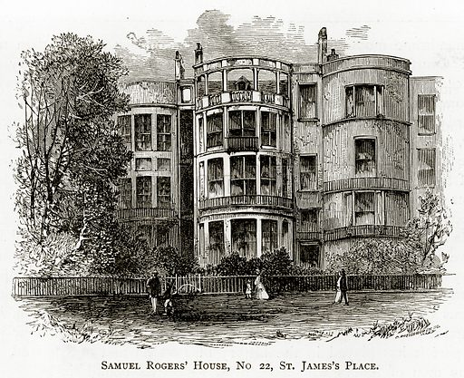 Samuel Rogers' House, no 22, St James's Place. Illustration from London Pictures by Richard Lovett (Religious Tract Society, 1890).