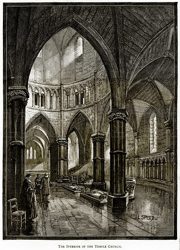 The interior of the Temple Church. Illustration from London Pictures by Richard Lovett (Religious Tract Society, 1890).