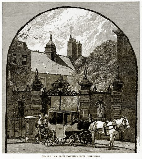 Staple Inn from Southampton Buildings. Illustration from London Pictures by Richard Lovett (Religious Tract Society, 1890).