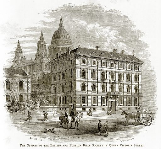 The Offices of the British and Foreign Bible Society in Queen Victoria Street. Illustration from London Pictures by Richard Lovett (Religious Tract Society, 1890).