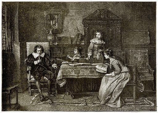 Milton and his Daughters. Illustration from London Pictures by Richard Lovett (Religious Tract Society, 1890).