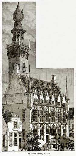 The Town Hall, Veere. Illustration from Pictures from Holland by Richard Lovett (Religious Tract Society, 1887).