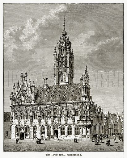 The Town Hall, Middelburg. Illustration from Pictures from Holland by Richard Lovett (Religious Tract Society, 1887).