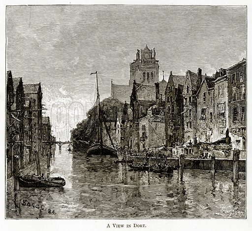 A view in Dort. Illustration from Pictures from Holland by Richard Lovett (Religious Tract Society, 1887).
