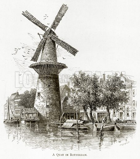 A Quay in Rotterdam. Illustration from Pictures from Holland by Richard Lovett (Religious Tract Society, 1887).