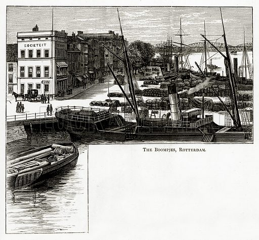 The Boompjes, Rotterdam. Illustration from Pictures from Holland by Richard Lovett (Religious Tract Society, 1887).