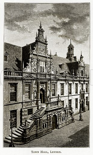 Town Hall, Leyden. Illustration from Pictures from Holland by Richard Lovett (Religious Tract Society, 1887).
