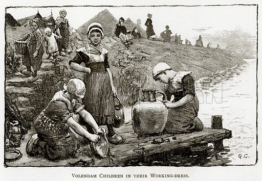 Volendam Children in their working-dress. Illustration from Pictures from Holland by Richard Lovett (Religious Tract Society, 1887).