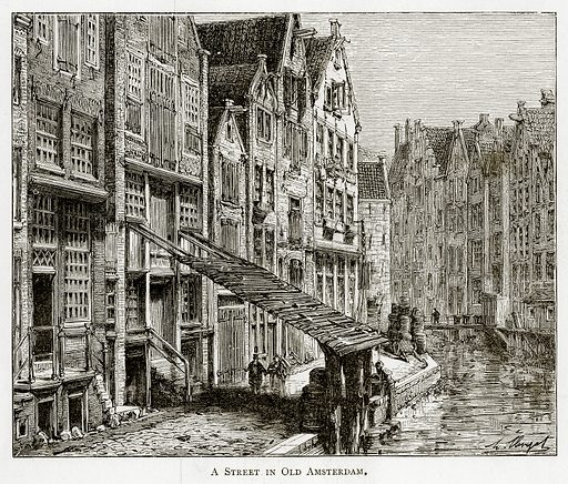 A Street in Old Amsterdam. Illustration from Pictures from Holland by Richard Lovett (Religious Tract Society, 1887).