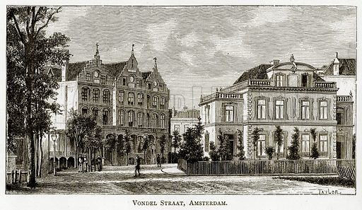 Vondel Straat, Amsterdam. Illustration from Pictures from Holland by Richard Lovett (Religious Tract Society, 1887).