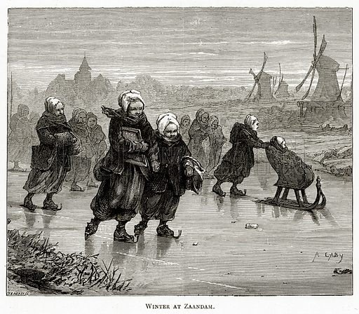 Winter at Zaandam. Illustration from Pictures from Holland by Richard Lovett (Religious Tract Society, 1887).