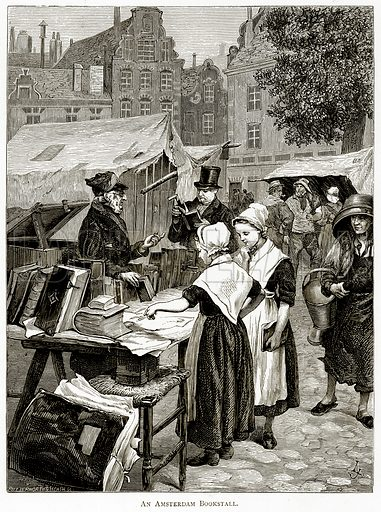An Amsterdam Bookstall. Illustration from Pictures from Holland by Richard Lovett (Religious Tract Society, 1887).